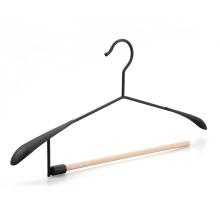 Custom Black Extra Wide Shoulder Metal Coat Hanger with Open Ended Wood Round Bar