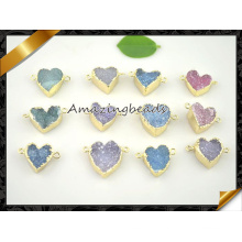Colorful Agate Druzy Beads Heart Shape Geode Drusy Quartz Pendant Connector for Bracelet Making (EF0121)