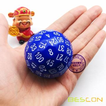 Bescon Polyhedral Dice 100 Sides Dice, D100 mort, 100 Cided Cube, D100 Game Dice, 100-Cided Cube of Blue Color