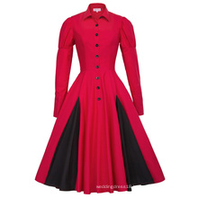 Belle Poque Victorian Style Long Sleeve Shirt Collar Contrast Color Red Retro Vintage Swing Dress BP000366-2