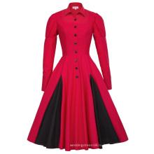 Белль некоторые из них имеют викторианском стиле с длинным рукавом рубашки воротник контраст цвета красный Ретро винтажные качели платье BP000366-2
