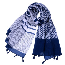 Premium popular decorative geometric printing viscose lady scarf with tassels