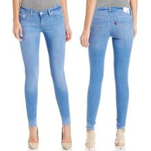 Jeans skinny 100% de la marca de fábrica de las señoras del algodón