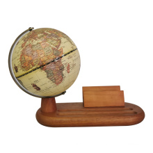 Virtual Antique World Globe on Wooden Stand