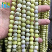 Atacado Pedras Semi Preciosas Pedras Preciosas Contas De Pedra Mostarda Pedra AAA Qualidade 10mm Rodada Azeitona Liso Jade