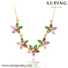 43017 moda elegante 24k chapado en oro mujeres CZ collar de cadena de joyería de imitación en forma de hoja