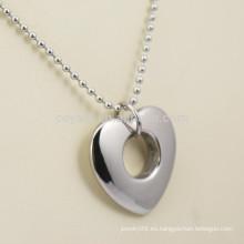 Collar pendiente de plata en forma de corazón de novia de acero inoxidable con agujero