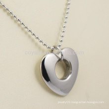 Blank Silver Stainless Steel Girlfriend Heart Pendant Necklace With Hole