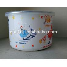 tazón de fuente de hielo alto con las tapas de PE y el cuenco de mezcla al por mayor del esmalte de la vajilla