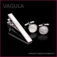 VAGULA nouveau Shell Tie Pin mère de Pearl cravatte cravate argent Set (T62282)