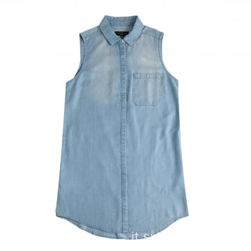 Gonna camicia elegante in denim senza maniche da donna elegante