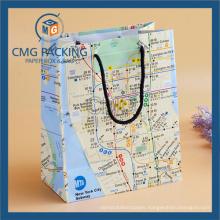 Map Printed Paper Hand Bag (DM-GPBB-073)