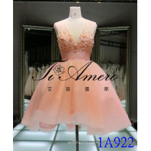 Rosa vestido corto encantador 2016 Flores y perla rebordear vestido de noche Tulle cuello en V encaje hasta Mini vestido 1A922