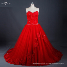 LZ171 Red Wedding Dress Lace Up Back With Graceful Beads Ball Gown