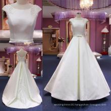 High Quality Custom Made Ball Beading Satin Wedding Dress Mat-113