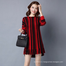 Lady Fashion Striped Viscose Kntted Winter Fringe Pullover Sweater (YKY2062)