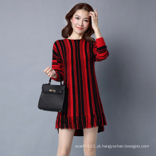 Senhora Moda Listrada Viscose Kntted Inverno Fringe Pullover Sweater (YKY2062)