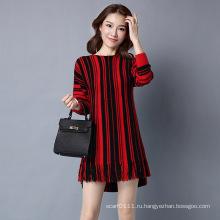 Леди мода полосатый вискоза Kntted зима бахромой пуловер свитер (YKY2062)