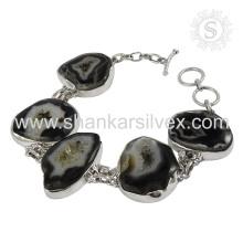 Impresionante pulsera de plata de piedras preciosas druzy 925 joyas de plata de ley pulsera de plata hecha a mano