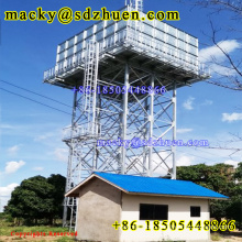 Star type China pressed galvanized steel water tank on 10m structure for domestic water