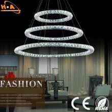 Hotel Residential Three Rings Pendant Lamp Crystal Chandelier Light
