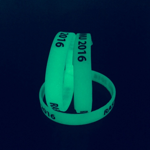 Glowing in the dark silicone wristbands