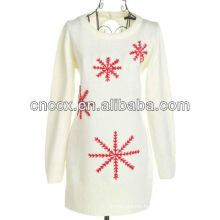 13STC5477 notch sweater snowflake embroidery christmas pullover