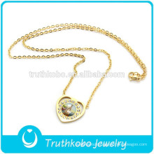 Ameria Virgin Mary Catholic Gold Plated Jewelry Necklace With Heart Crystal