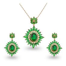 Wuzhou Foxi Wholesale Green Stone Fashion Jewelry Sets for Wedding