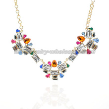 Statement Party Crystal Stone Pendants Necklace