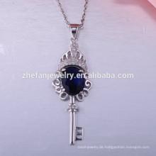 Neue Mode 925 Sterling Silber Halskette Clip Schlüssel Anhänger Halskette