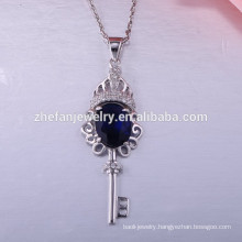 New fashion 925 sterling silver necklace clip key pendant necklace