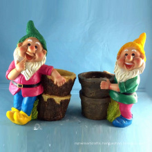 Decorative Garden Gnome Decoration Polyresin Dwarf Flowerpot