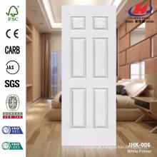 JHK-006 New Design 6 painéis de madeira interior bela grão branca primer moldado porta pele