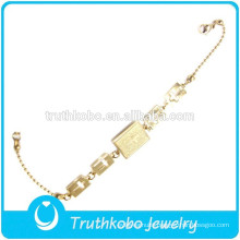 TKB-JB0001 New arrival design cross rosary beads chain golden 316L stainless steel charm bracelets for women
