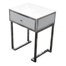 1 Schublade Bedside White Glass Metallrahmen