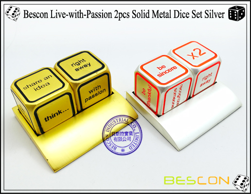 Bescon Live-with-Passion 2pcs Solid Metal Dice Set Silver-8