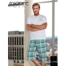 Miorre OEM New Season 2017 Men's Short Sleeve T-Shirt & Capri Short Cotton Pajamas Set