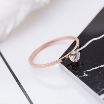 Rose Gold Cubic Zirconia Engagement Ring Band