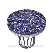 CANOSA Синий вены каменный журнальный столик с лентой из нержавеющей стали