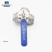 Excelente Material Melhor Qualidade Preço Razoável Válvula de Esfera de Aço Inoxidável 3 Way