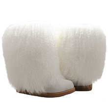 Fashion Sheepskin Wool Lining Fluffy Winter Boots Women