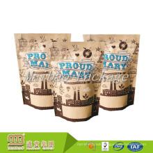 Cheap Price Custom Printed Resealable Ziplock Packaging Heat Sealed Brown Kraft Paper Coffee Bags