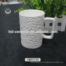 9oz Keramik-Kaffeetasse mit quadratischem Griff, geprägter Keramikbecher