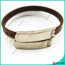 Bracelet en cuir marron avec boucle pour la décoration de l'homme (LB16041949)