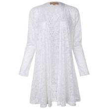 Kate Kasin Long Sleeve Open Front See-Through White Lace Coat Tops Bolero KK000421-2