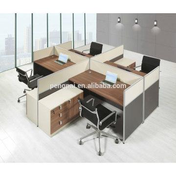 Square 4 seater melamine wooden workstation 07