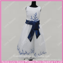 RP0096 Fábrica de color azul bordado de organza de pelota vestido de raso vestido de raso nueva chica formal vestido de fiesta vestido de chica de la flor de muestra real