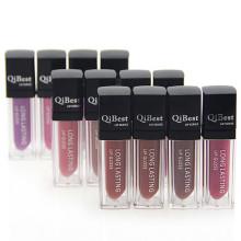 Lápiz labial líquido mate de 12 colores de alta calidad, lápiz labial líquido mate, brillo de labios de larga duración, lápiz labial Qibest, taza antiadherente, brillo de labios