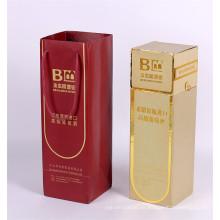 Caja de cartón de regalo de vidrio Champagne con bolsa de botella de vino de mango